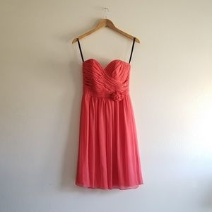 Coral Pink Bridesmaids Prom Dress